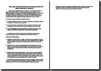 Le rôle des mécanismes du marché face à l'économie (plan de dissertation)