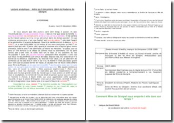 Lecture analytique de la lettre de Madame de Sévigné datant du 9 décembre 1664 adressée à Pomponne