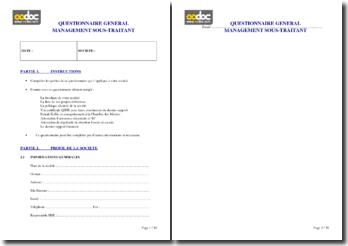 Questionnaire de management des sous-traitants