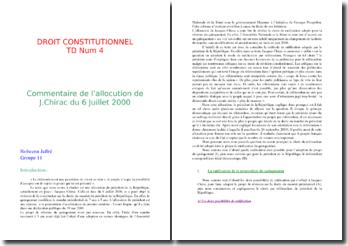 L'allocution de Jacques Chirac, du 6 juillet 2000, concernant la réforme du quinqennat