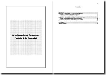 La jurisprudence fondée sur l'article 4 du Code civil
