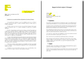 Bourse d'étude à l'étranger : lettre de motivation et rapport de fin de séjour
