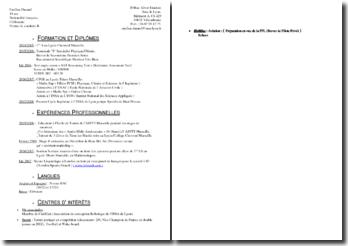 Exemple de CV d'étudiant pour poste d'enseignant en soutien scolaire