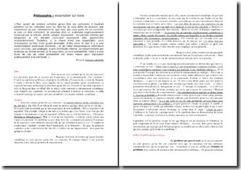 Dissertation sur un texte de Bergson : la conscience de l'être