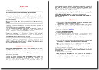 Conseils de rédaction d'un CV et d'une lettre de motivation