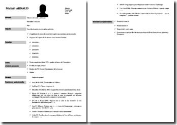 CV classique étudiant (job vacances)