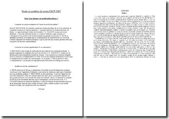 Multiculturalisme : étude et synthèse de textes