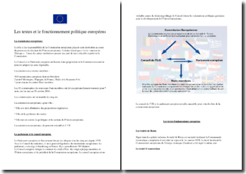 Les textes et le fonctionnement politique européen