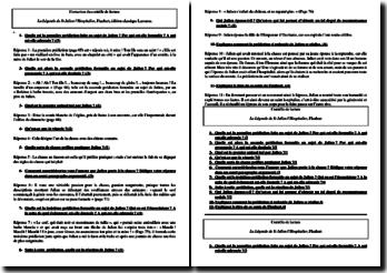 Flaubert, La Légende de Saint Julien l'Hospitalier : correction d'un contrôle de lecture