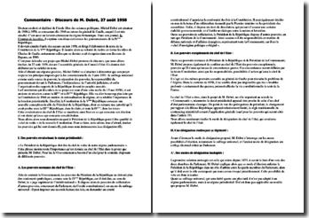 Discours de Michel Debré du 27 août 1958 relatif au projet de constitution