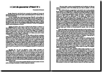 Pierre de L'Estoile, « L'art de gouverner d'Henri IV » : commentaire