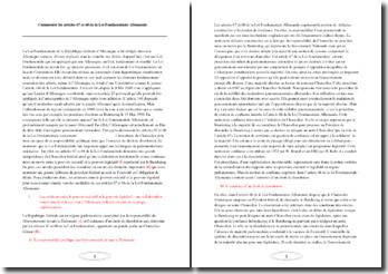 Commentaire des articles 67 et 68 de la Loi Fondamentale d'Allemagne