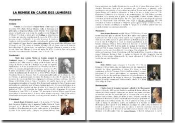 Les philosophes des Lumières : biographies, définition de leur esprit et présentation de leurs critiques