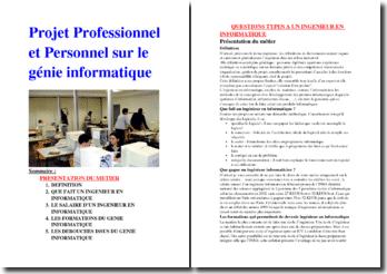 Projet personnel et professionnel : présentation du métier d'ingénieur informatique