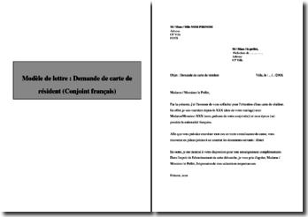 Lettre de demande de carte de résident (Conjoint français)