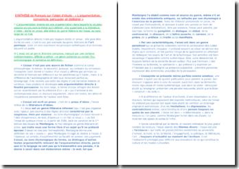 Synthèse de Français sur l'objet d'étude : les définitions de l'essai