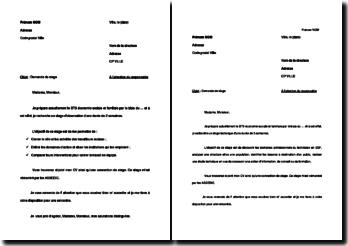 Lettres de motivation pour une demande de stage BTS ESF