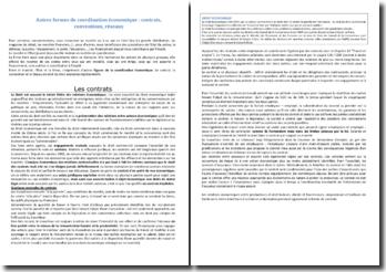 Autres formes de coordination économique : contrats, conventions, réseaux