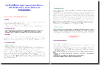 Méthodologie du commentaire de texte, de la dissertation et de l'écriture d'invention