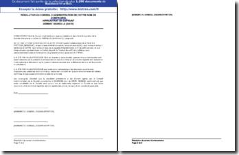 Résolution du Conseil d'Administration approuvant un emprunt