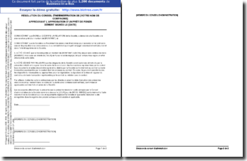 Résolution du Conseil d'Administration approuvant un prêt de fonds