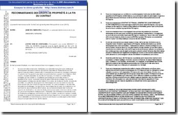 Reconnaissance des droits de propriété de l'entreprise à la fin du contrat