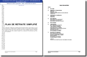 Exemple type de plan de retraite simplifié