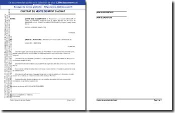 Contrat de vente de droit d'achat