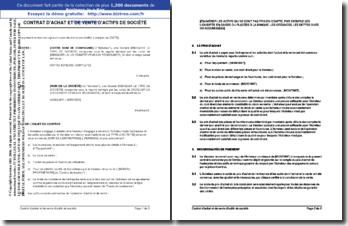 Contrat d'achat et de vente d'actifs d'entreprise