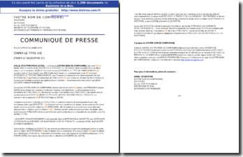 Communiqué de presse annonçant l'obtention de financement