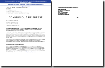 Communiqué de presse annonçant la promotion d'un employé