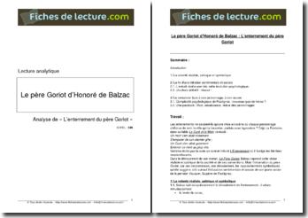 Honoré de Balzac, Le Père Goriot, l'enterrement du Père Goriot