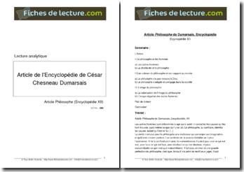 Article Philosophe de L'Encyclopédie écrit par César Chesnau de Dumarsais