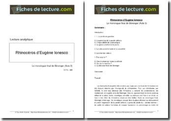 Ionesco, Rhinocéros, Acte 3 : Le monologue final de Bérenger