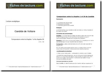 Voltaire, Candide : Comparaison entre le premier et le dernier chapitre