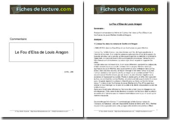 Le thème de l'amour fou dans Le Fou d'Elsa d'Aragon et dans Les Souffrances du jeune Werther de Goethe