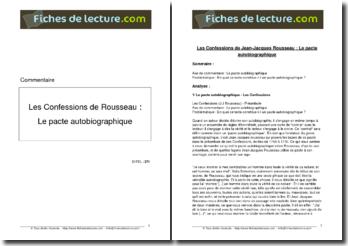 Rousseau, Les Confessions, Le pacte autobiographique
