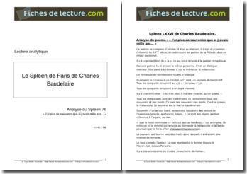 Baudelaire, Le Spleen de Paris, Spleen LXXVI