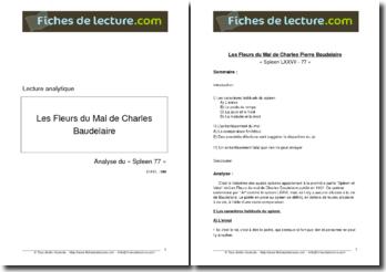 Baudelaire, Les Fleurs du Mal, Spleen LXXVII