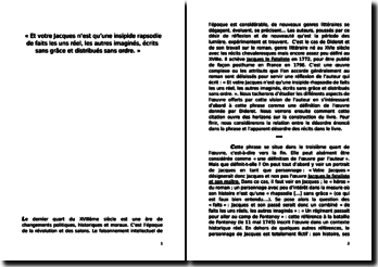 diderot jacques le fataliste dissertation
