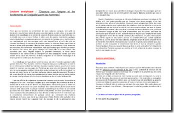Lecture analytique : Discours sur l'origine de l'Inégalité parmi les hommes de Rousseau