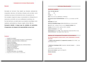Exemplaire de Curriculum Vitae