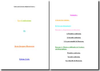 Guide de lecture intégral des Confessions de Rousseau, Livre I à VI