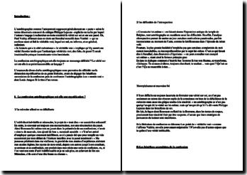 Dissertation sur l'autobiographie concernant la citation de Paul Valery « qui se confesse ment et fuit le véritable vrai, lequel est nul, ou informe, et en général, indistinct » (bac de français)