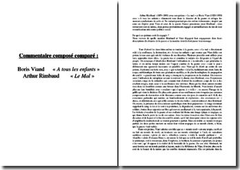 Boris Vian, A tous les enfants / Arthur Rimbaud, Le Mal