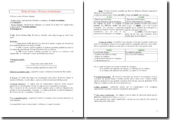 Fiches de révision de sciences économiques (Licence 1)