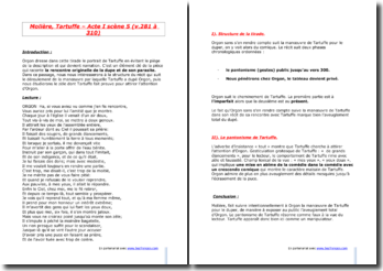 Molière, Tartuffe, Acte I scène 5 (vers 281 à 310) : la tirade d'Orgon
