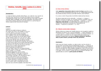 Molière, Tartuffe, Acte I scène 5 (vers 318 à 345) : tirade de Cléante