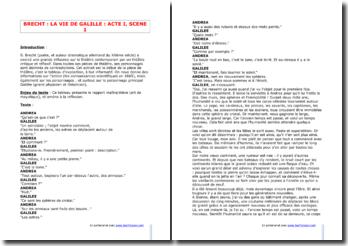 Brecht, La Vie de Galilé, Acte I Scène 1