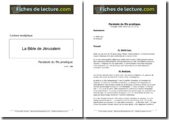 Saint Luc, La Bible de Jérusalem, La parabole du fils prodigue